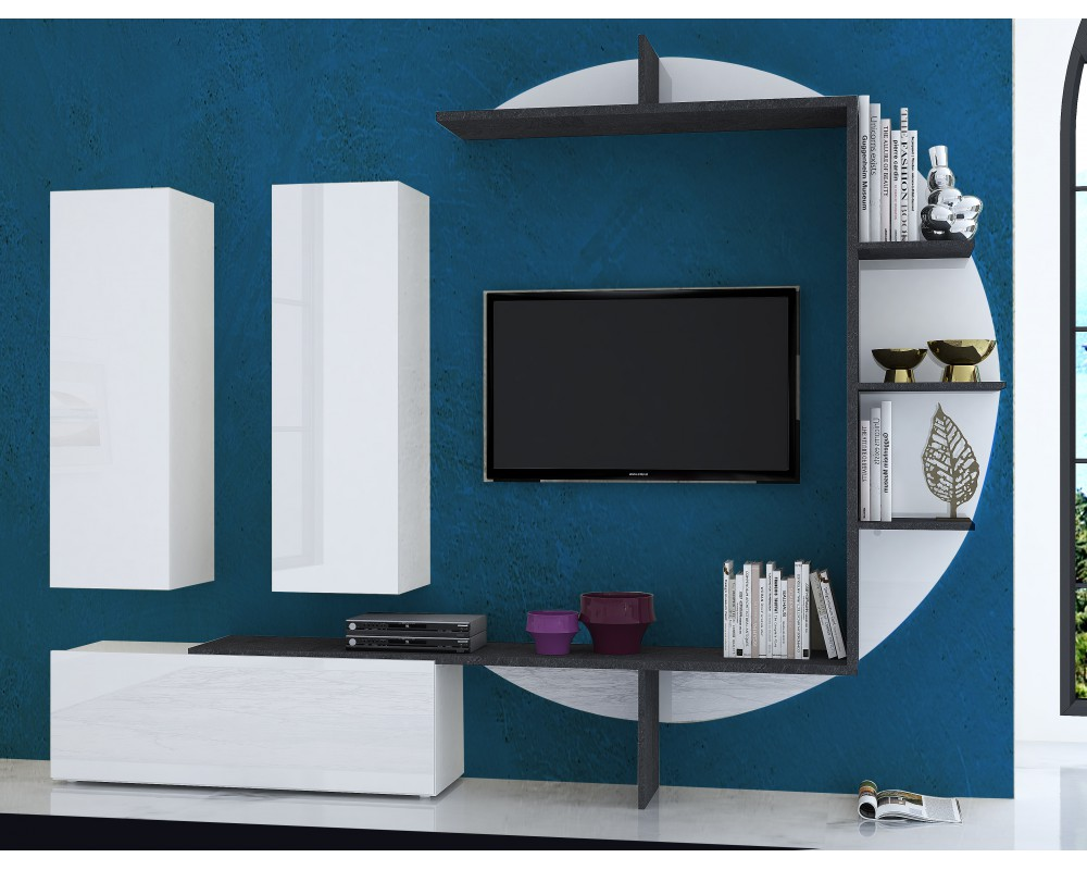 Meuble Tv Mural Design Lumineux Collection Zen Blanc Laque Marbre  # Meuble Tele Mural Design